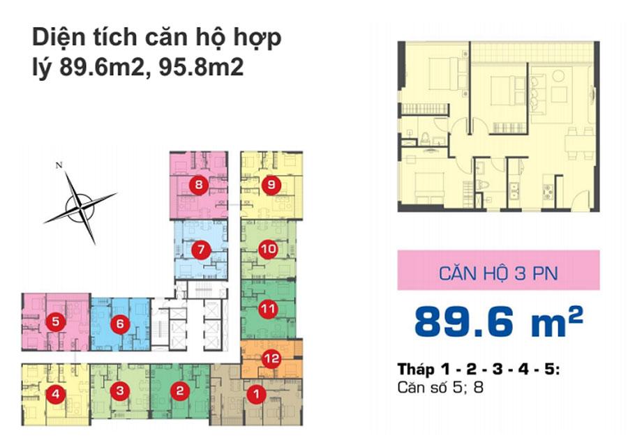 Sơ đồthiết kế nội thất chung cư The Sun Avenue 89.6m2