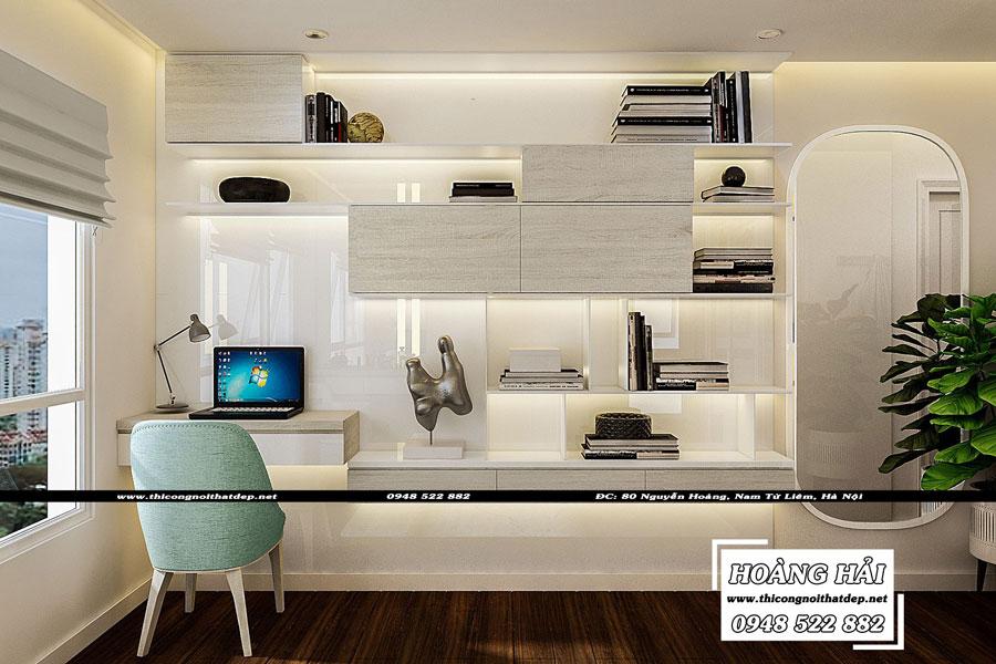 thiết kế nội thất phòng ngủ chung cư The Sun Avenue 89.6m2