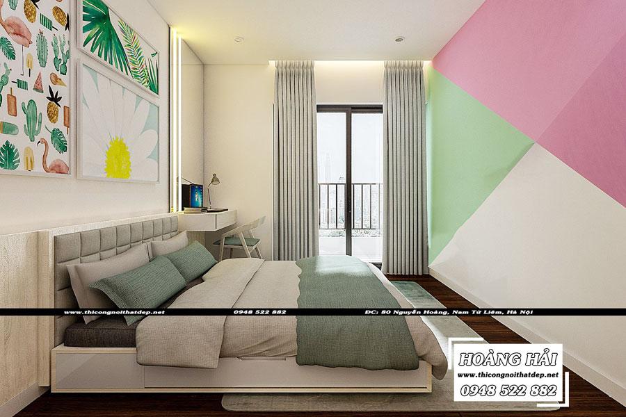 thiết kế nội thất phòng ngủ bé gái chung cư The Sun Avenue 89.6m2