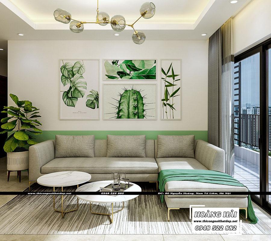 thiết kế nội thất phòng khách chung cư The Sun Avenue 89.6m2