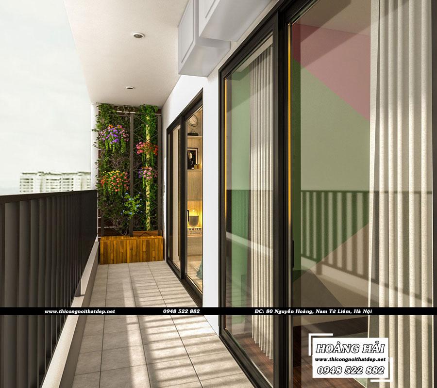 thiết kế nội thất ban công chung cư The Sun Avenue 89.6m2