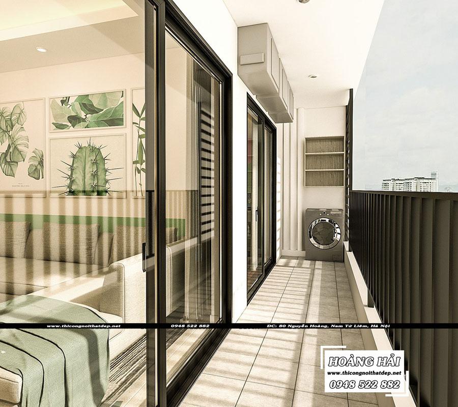 thiết kế nội thất hành lang chung cư The Sun Avenue 89.6m2