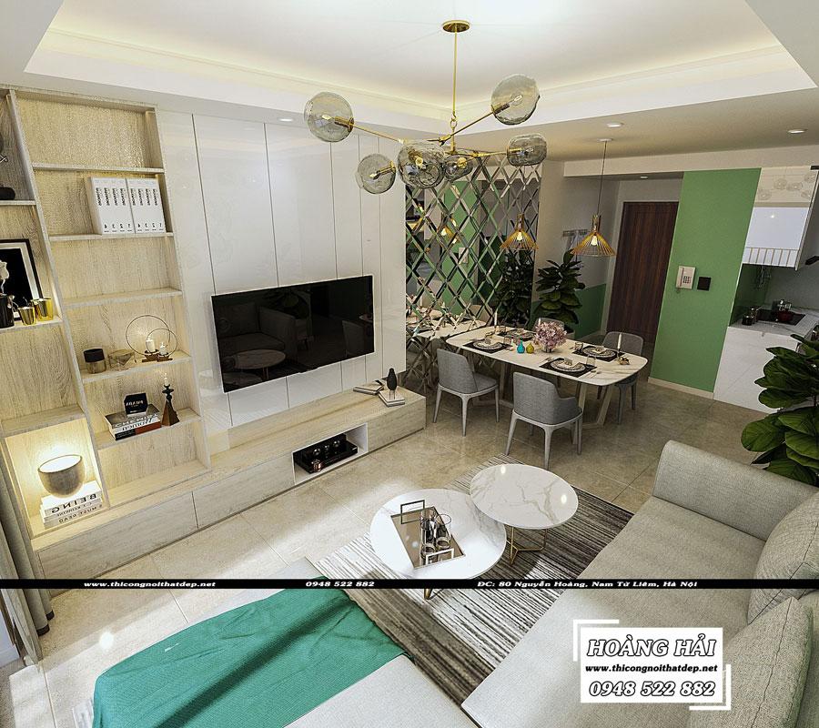 thiết kế nội thất phòng khách cạnh phòng ăn chung cư The Sun Avenue 89.6m2