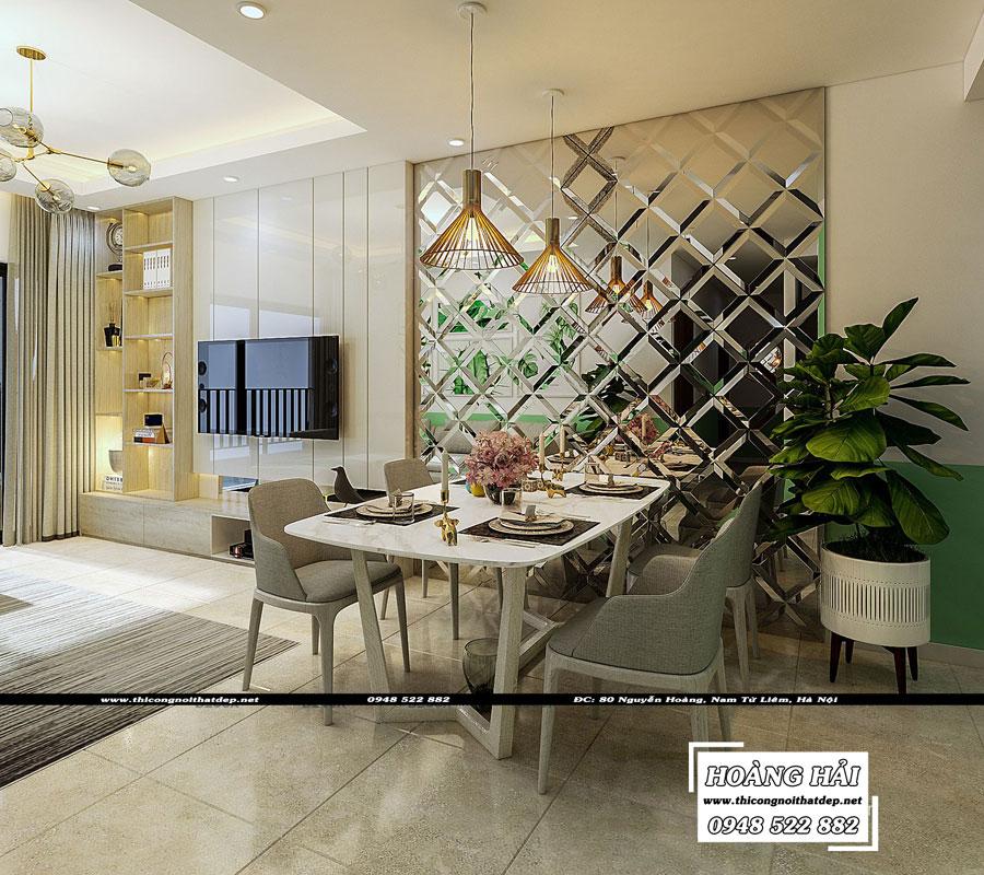 thiết kế nội thất phòng ăn chung cư The Sun Avenue 89.6m2