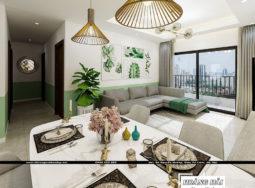 Mẫu thiết kế nội thất căn hộ chung cư 89.6m2 The Sun Avenue