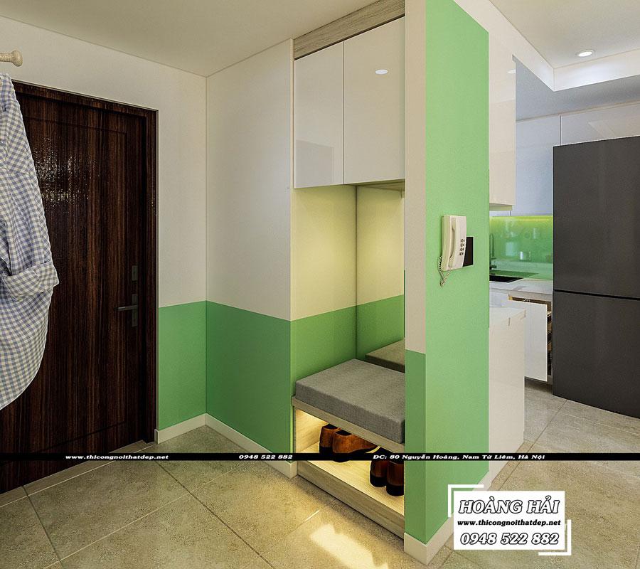 thiết kế nội thất phòng bếp chung cư The Sun Avenue 89.6m2