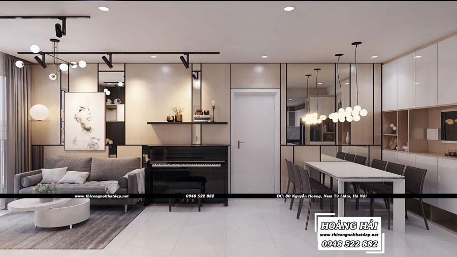 Dự án thiết kế nội thất phòng khách cạnh phòng ăn chung cư cao cấp Vista Verde 80m2 - Chị Ái