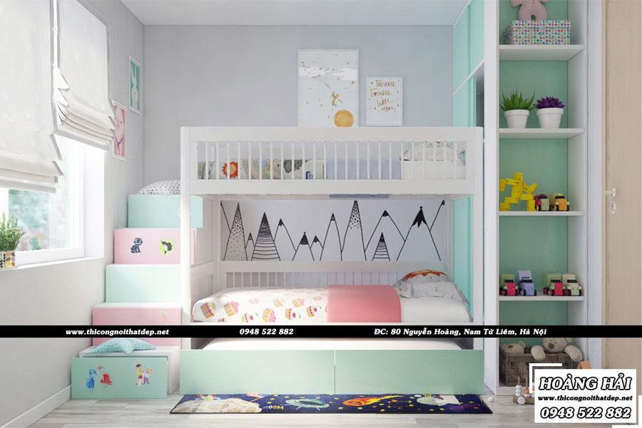 Thiết kế nội thất phòng ngủ cho bé gái chung cư Ecolife Capitol