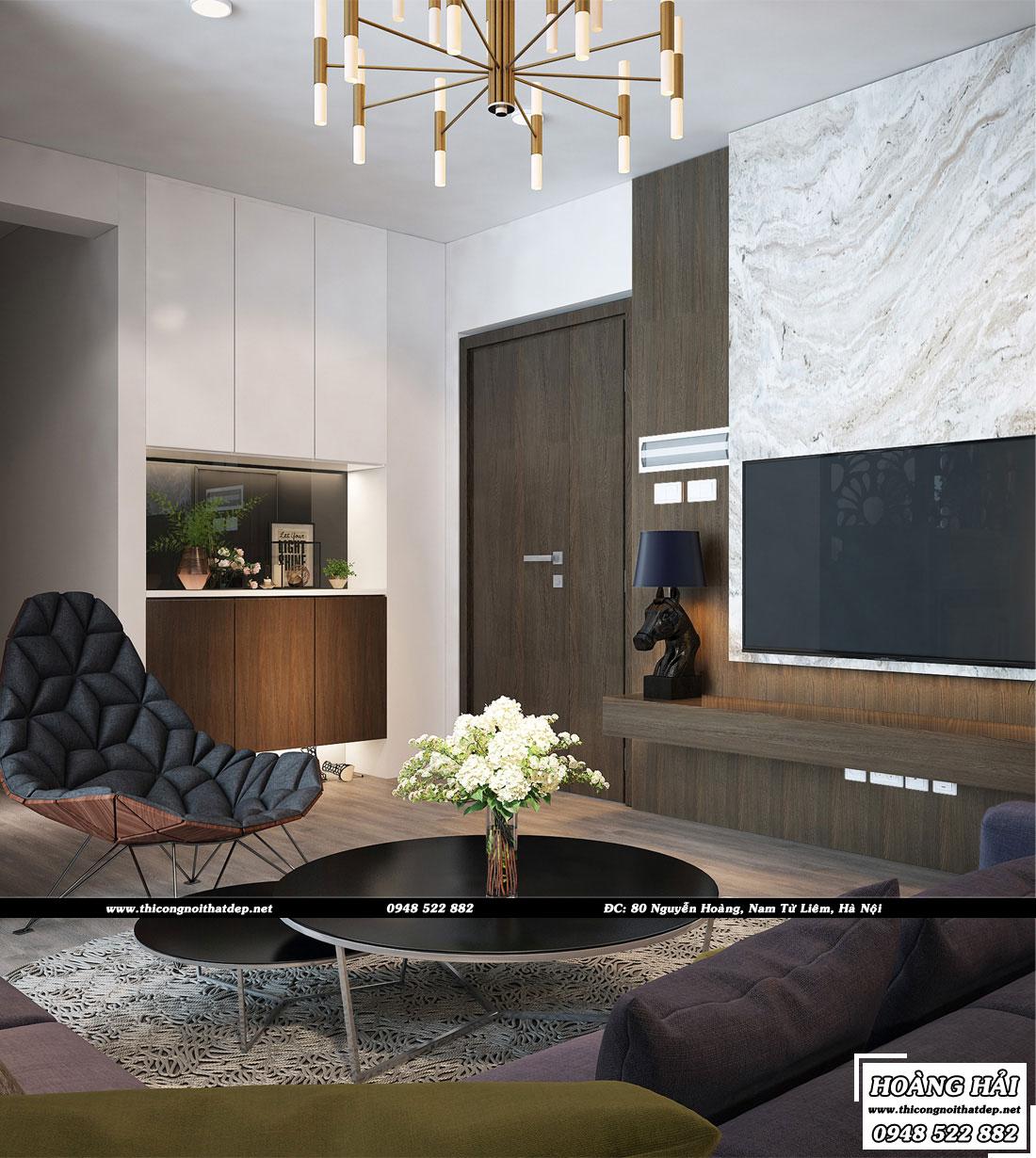 Thiết kế nội thất phòng khách chung cư Ecolife Capitol