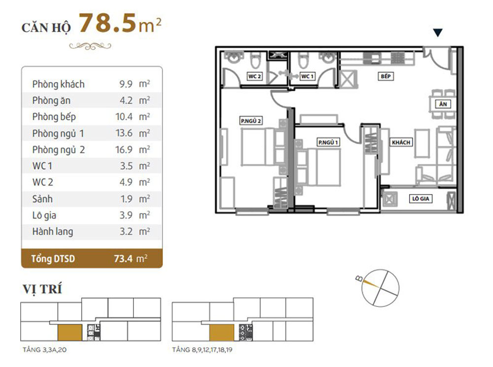 Sơ đồ thiết kế nội thất căn hộ chung cư Grand Riverside 78m2