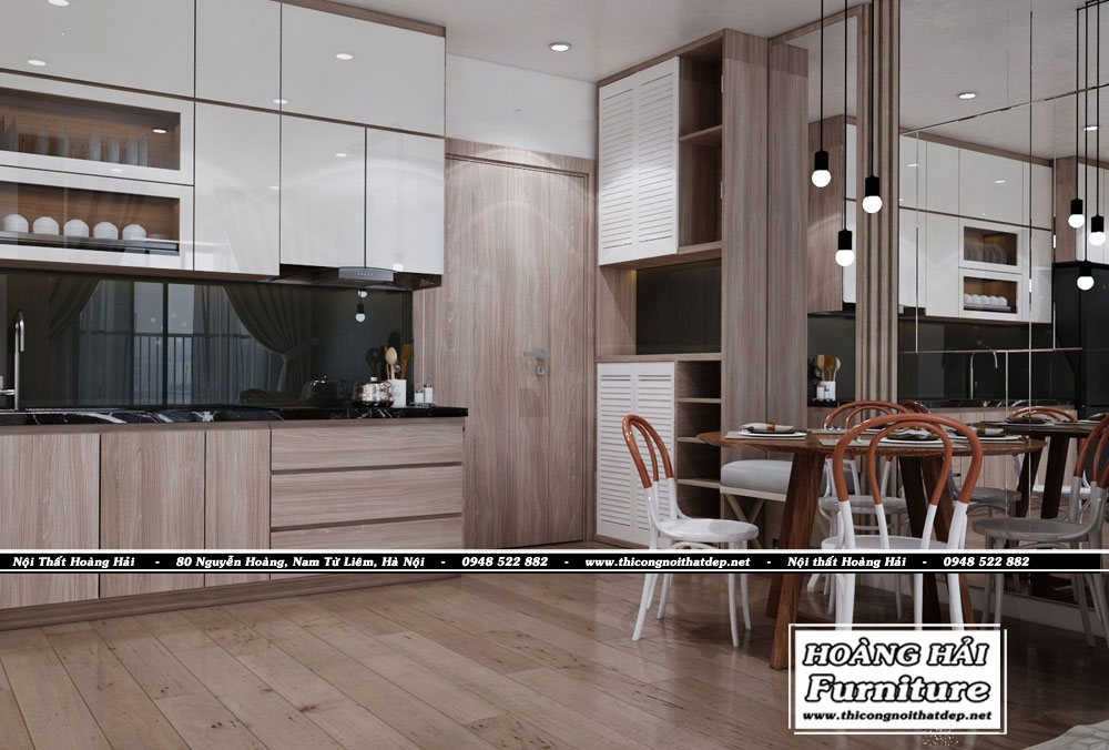 Mẫu thiết kế nội thất phòng bếp chung cư Grand Riverside 78m2