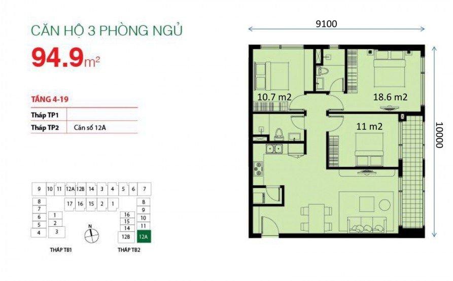 Mặt bằng căn hộ chung cư The Botanica 95.4m2