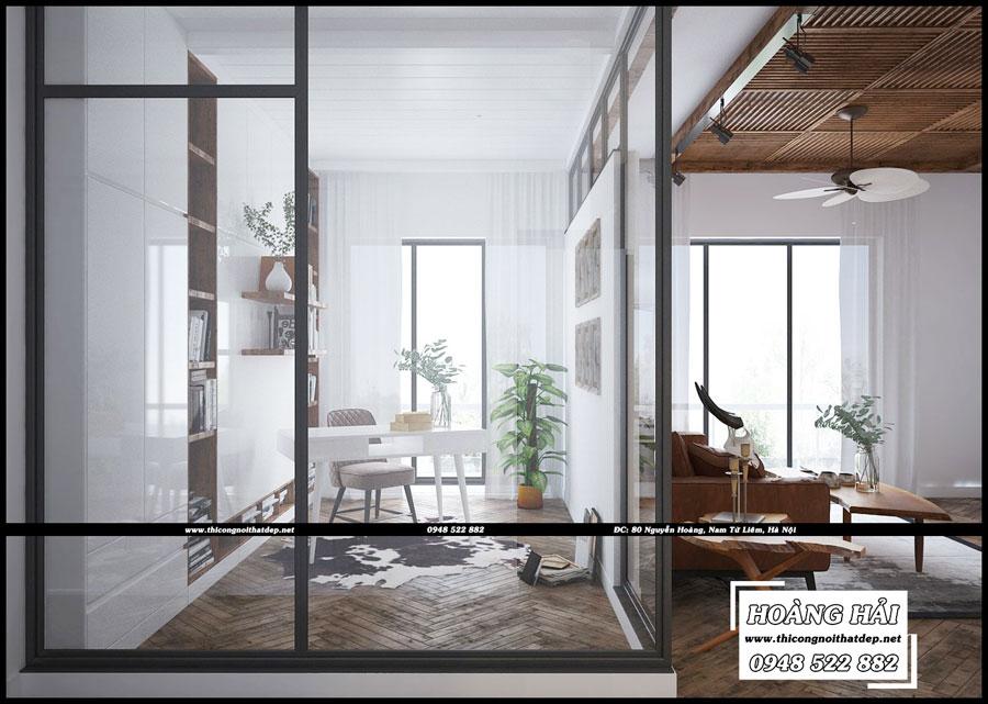 Mẫu thiết kế nội thất phòng đọc sách căn hộ chung cưThe Botanica 95.4m2