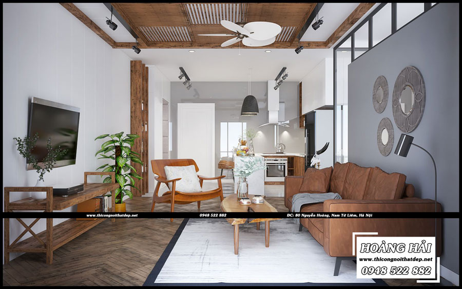 Mẫu thiết kế nội thất phòng khách căn hộ chung cưThe Botanica 95.4m2