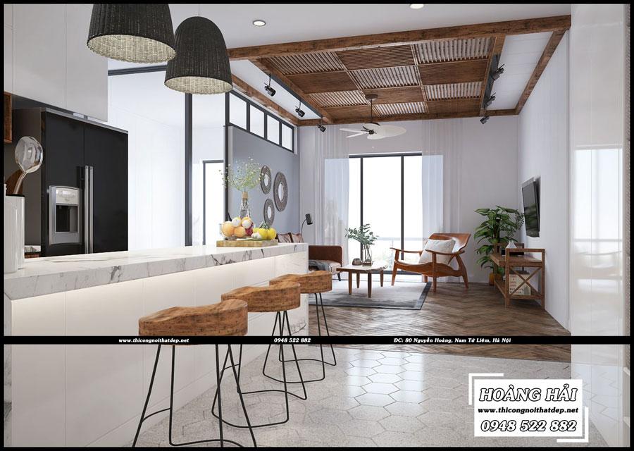 Mẫu thiết kế nội thất phòng bếp căn hộ chung cưThe Botanica 95.4m2