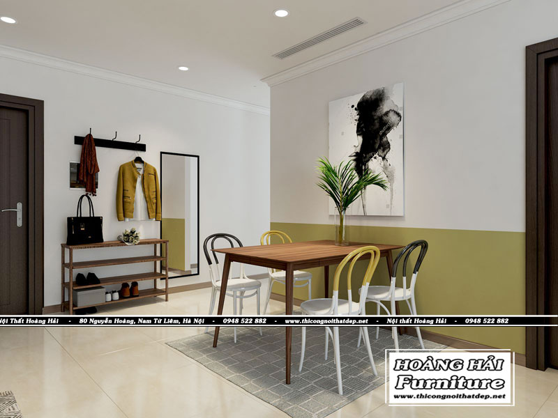 Mẫu thiết kế nội thất phòng ăn chung cư 103 m2 Vinhomes Central Park
