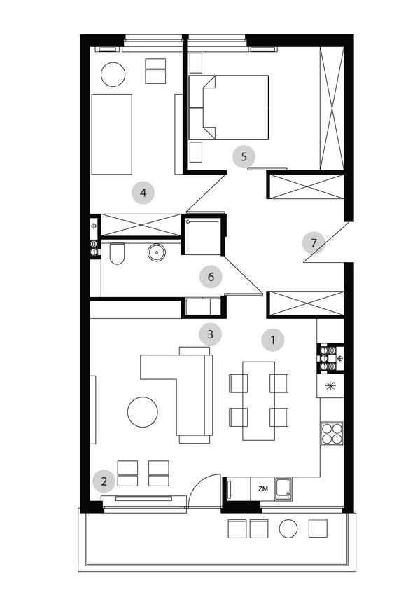 Sơ đồ thiết kế nội thất chung cư 70m2