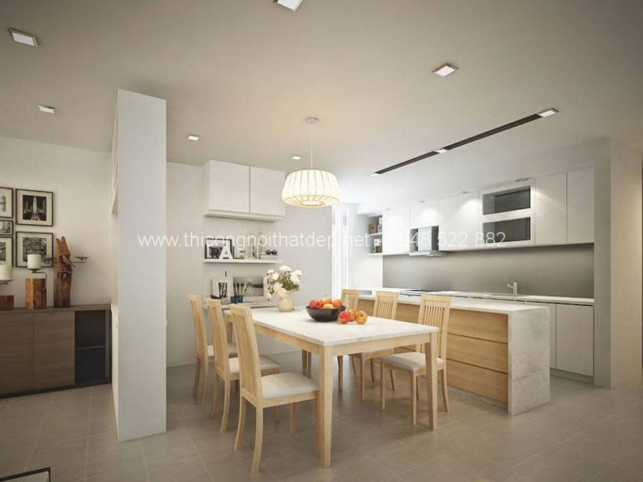 mẫu thiết kế nội thất phòng bếp chung cư 100m2