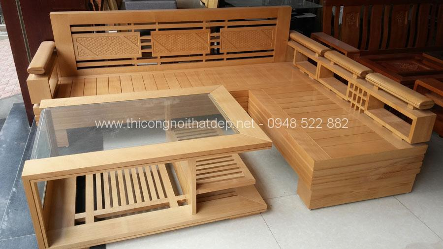 Bộ bàn ghế sofa được làm từ gỗ sồi tự nhiên thiết kế đơn giản