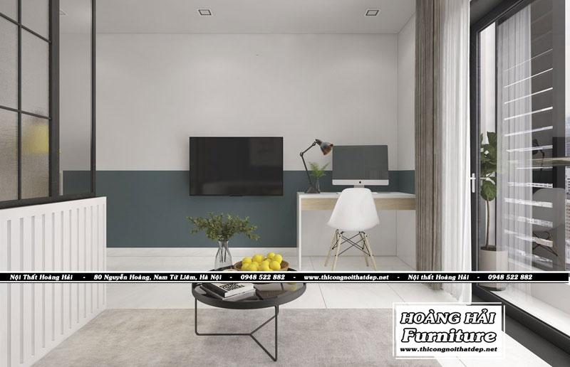 Thiết kế nội thất phòng khách chung cư 33m2