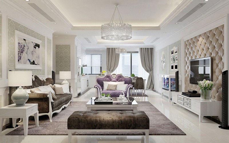 mẫu thiết kế nội thất phòng khách chung cư 100m2 tân cổ điển