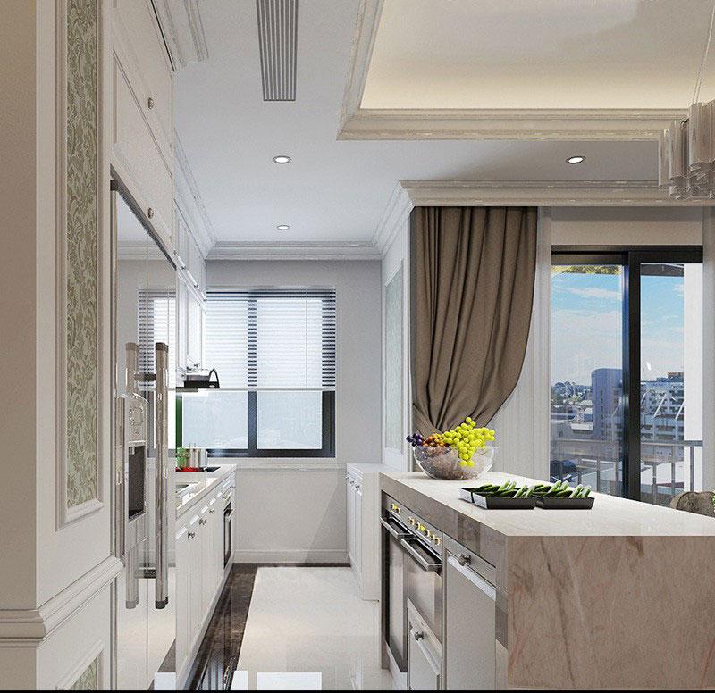 mẫu thiết kế nội thất phòng bếp chung cư 100m2 tân cổ điển