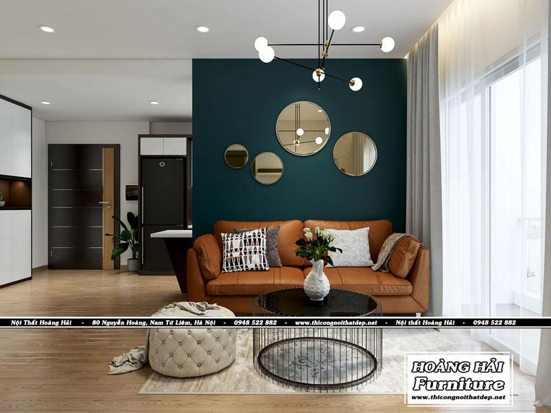 mẫu thiết kế nội thất phòng khách căn hộ XI Grand Court 76m2