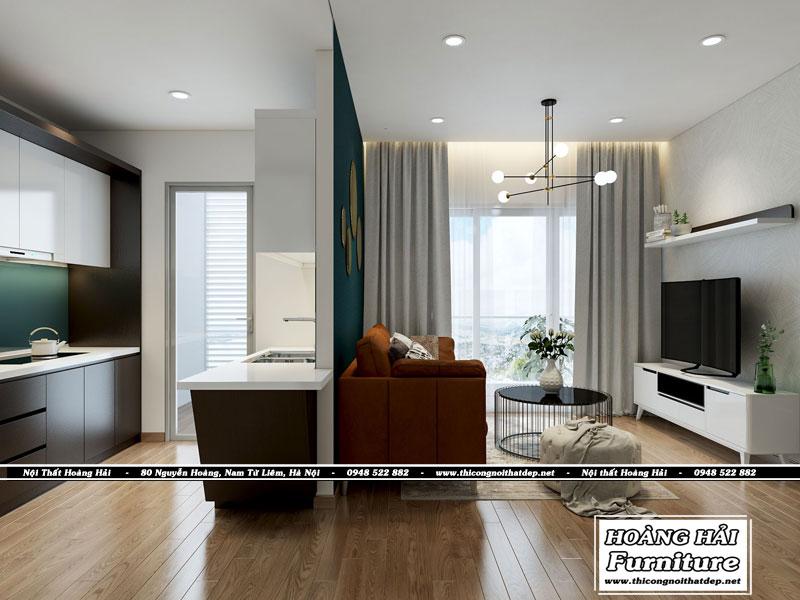mẫu thiết kế nôi thất phòng khách nối liền phòng bếp tại căn hộ XI Grand Court