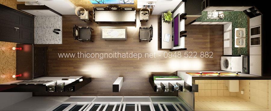 mẫu thiết kế nội thất phòng khách liền bếp chung cư