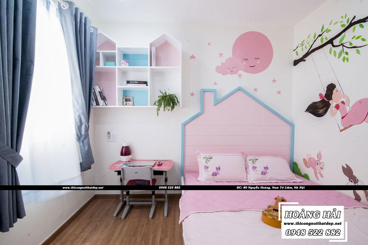 Thiết kế nội thất phòng ngủ bé gái chung cư CityLand Park Hills