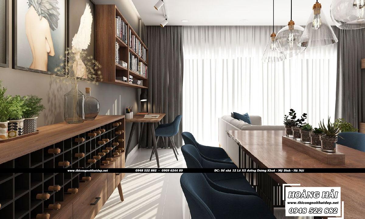 Dự án thiết kế nội thất chung cư cao cấp Millennium 100m2 - Chị Lan