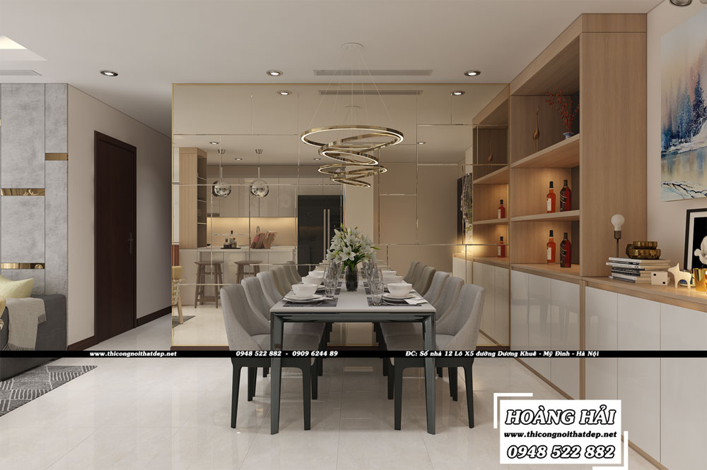 Dự án thiết kế nội thất phòng ăn căn hộ chung cư Vinhomes Central Park 100m2 - Anh Nam