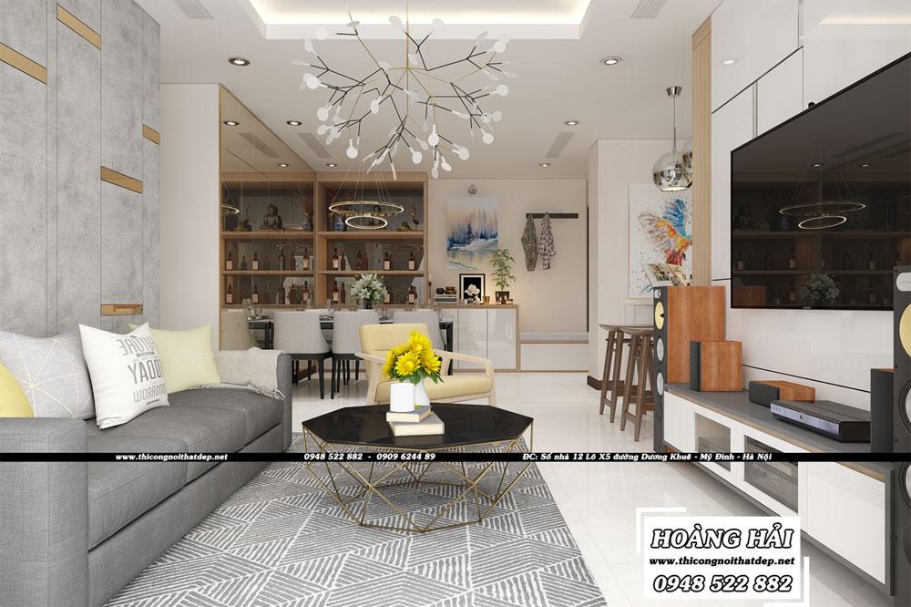 Dự án thiết kế nội thất phòng khách căn hộ chung cư Vinhomes Central Park 100m2 - Anh Nam