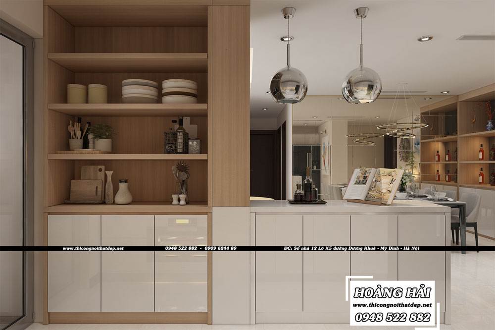 Dự án thiết kế nội thất phòng bếp căn hộ chung cư Vinhomes Central Park 100m2 - Anh Nam