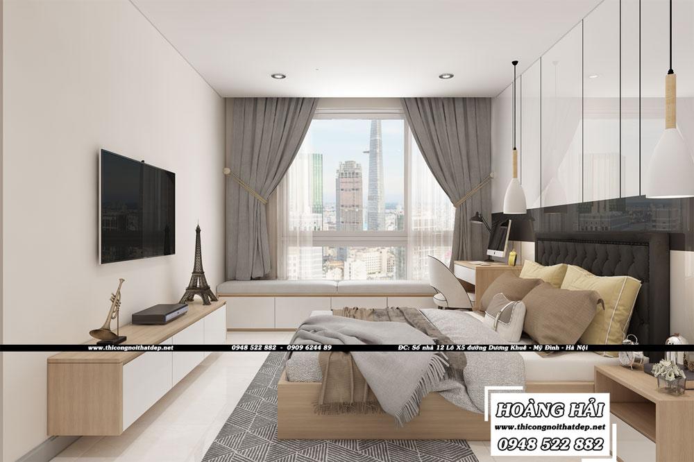 Dự án thiết kế nội thất phòng ngủ căn hộ chung cư Vinhomes Central Park 100m2 - Anh Nam