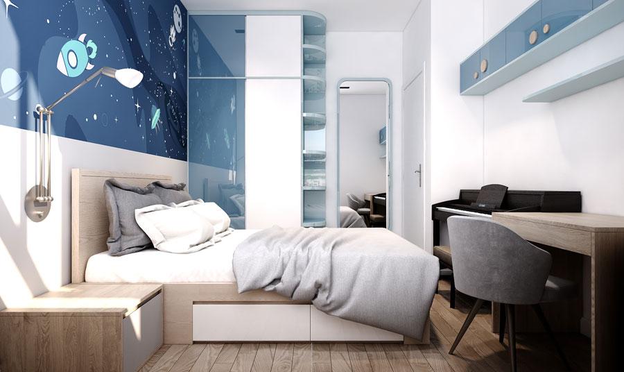 dự án thiết kế nội thất phòng ngủ căn hộ chung cư Wilton Tower - Anh Khang