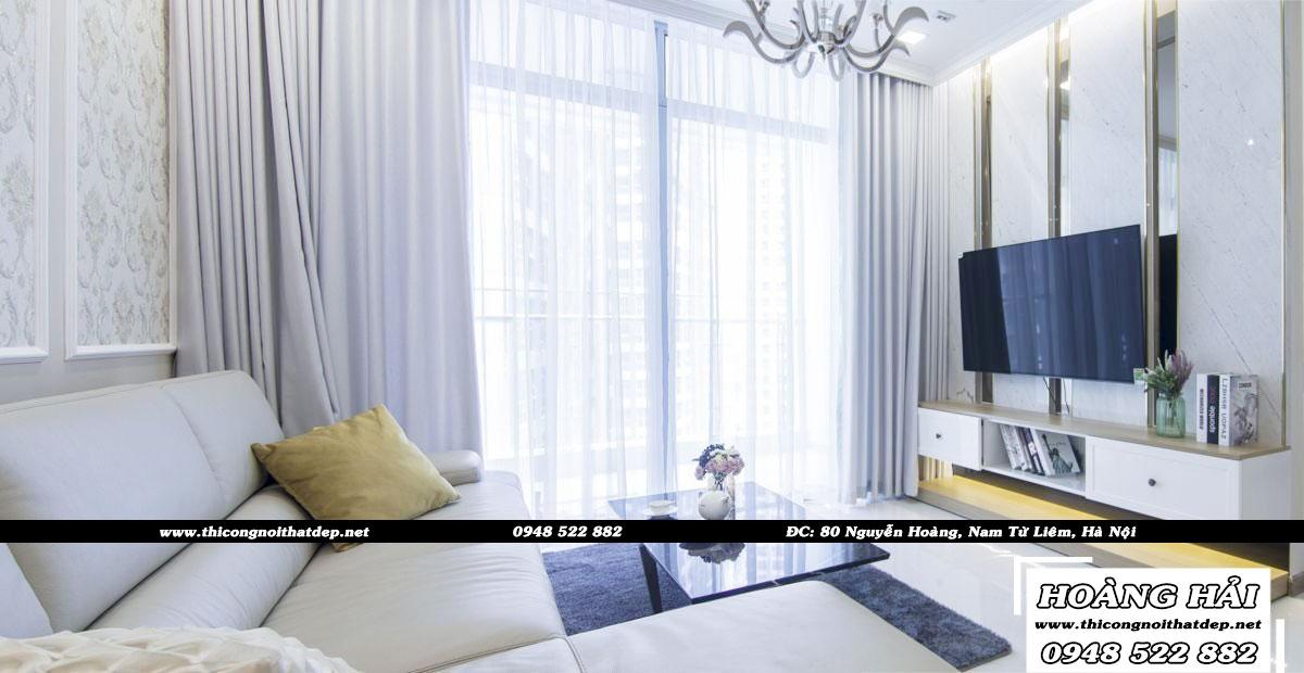 Mẫu thiết kế nội thất phòng khách chung cư Vinhomes Cental Park 118m2 cực đẹp - Anh Vinh