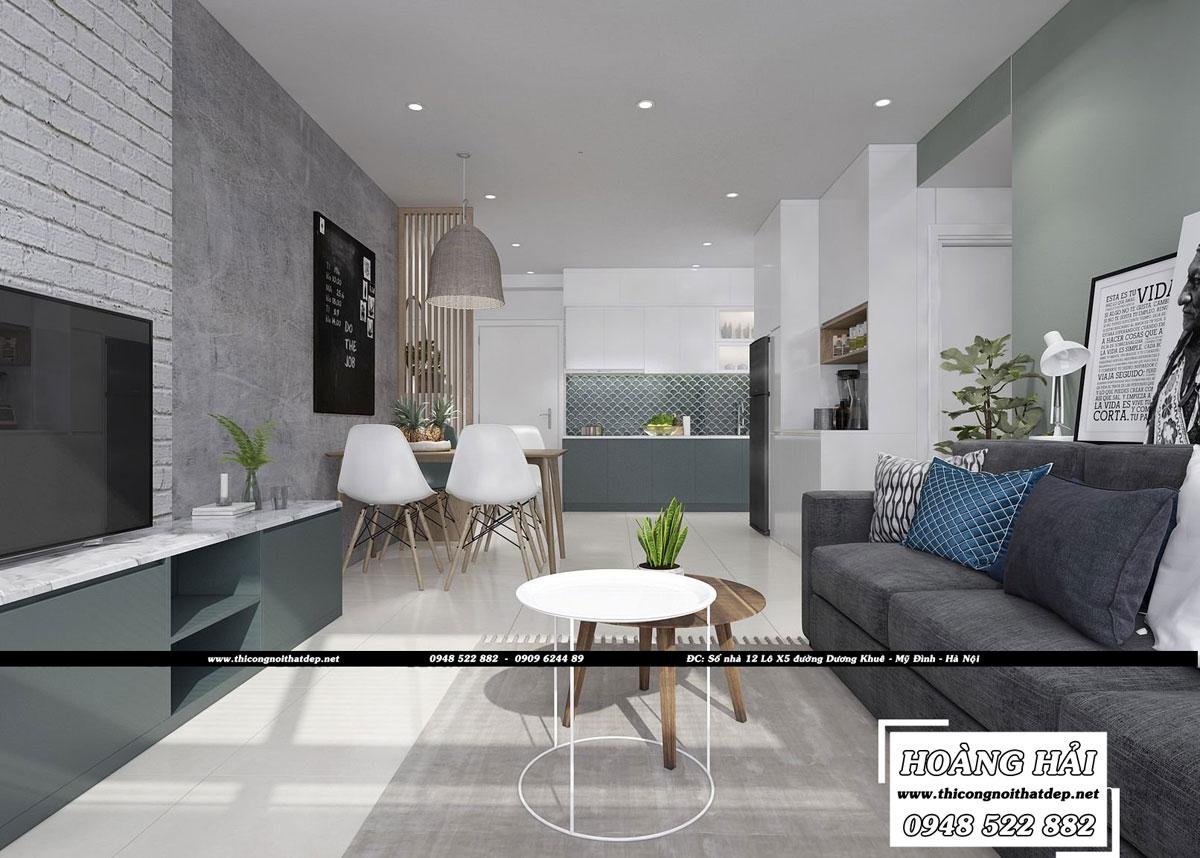 Dự án thiết kế nội thất phòng khách chung cư CityHome 66m2