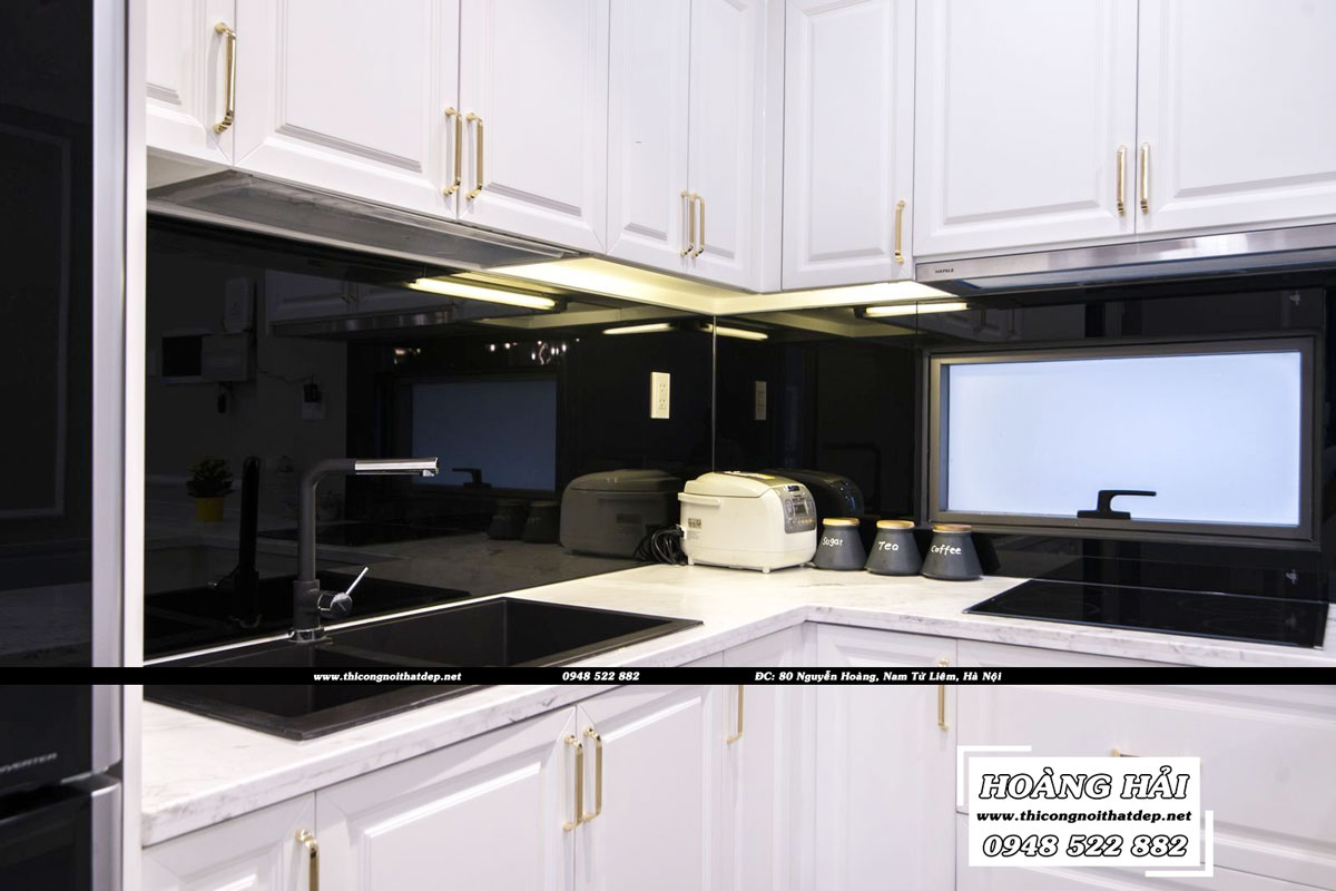 thiết kế nội thất phòng bếp căn hộ chung cư Wilton Tower 92m2