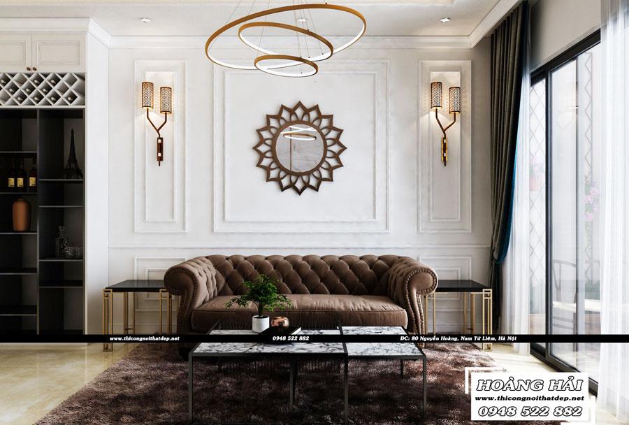 Dự án thiết kế nội thất phòng khách chung cư Cityland Park Hills 120m2