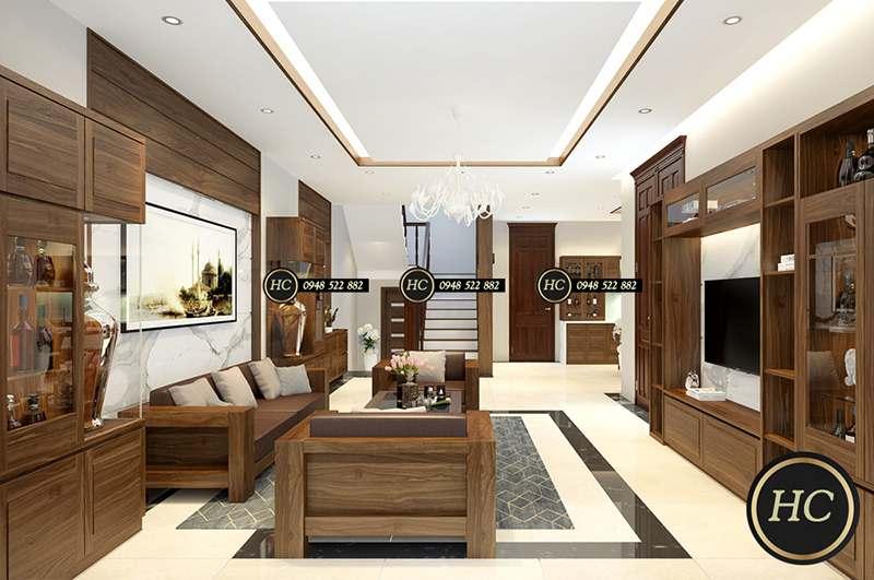 Sofa Phòng Khách Gỗ Óc Chó Mẫu 002 -Hình 02