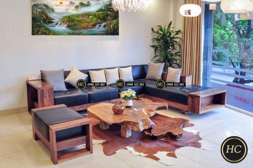 Sofa Phòng Khách Gỗ Óc Chó Mẫu 003