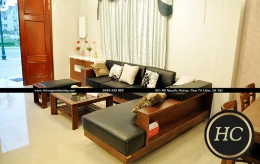Sofa Phòng Khách Gỗ Óc Chó Mẫu 004 Hình 02