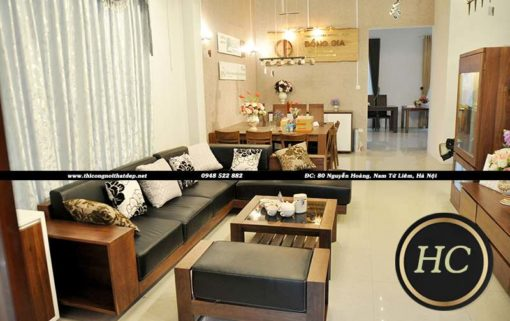 Sofa Phòng Khách Gỗ Óc Chó Mẫu 004 Hình 03