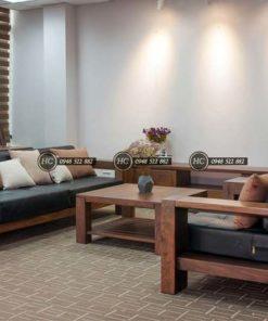 Sofa Phòng Khách Gỗ Óc Chó Mẫu 006