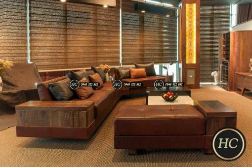 Sofa Phòng Khách Gỗ Óc Chó Mẫu 007 Hình 2