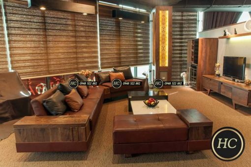 Sofa Phòng Khách Gỗ Óc Chó Mẫu 007