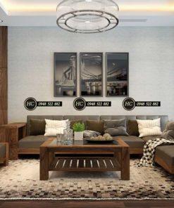 Sofa Phòng Khách Gỗ Óc Chó Mẫu 009 Hình 2