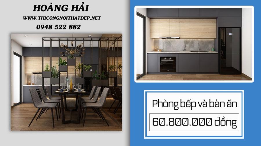 Thiết kế thi công nội thất chung cư phòng bếp