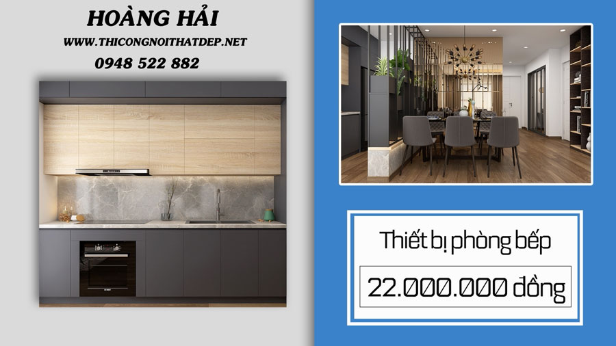 Thiết kế thi công nội thất căn hộ chung cư với thiết bị tủ bếp
